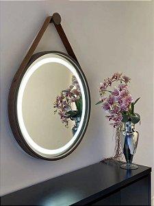 Espelho de 80cm com Alça, Iluminação Integrada e Botão Touch  - Marrom