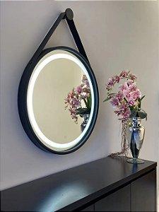 Espelho de 80cm com Alça, Iluminação Integrada e Botão Touch  - Preto