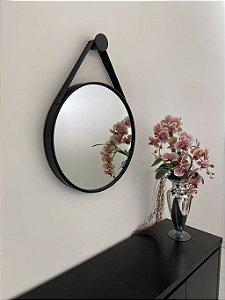 Espelho decorativo de 50cm com Alça - Preto