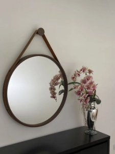Espelho decorativo de 80cm com Alça - Marrom