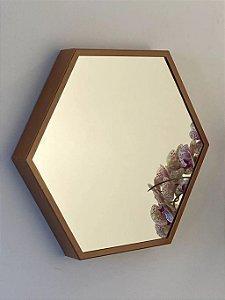 Espelho decorativo hexagonal de 35cm - Cobre