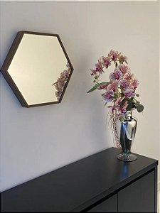 Espelho decorativo hexagonal de 35cm - Marrom