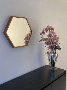 Espelho decorativo hexagonal de 50cm - Cobre