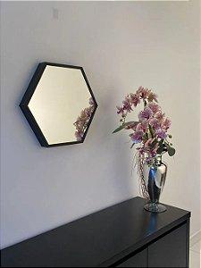 Espelho decorativo hexagonal de 50cm - Preto