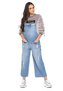 Macacão pantacourt jeans