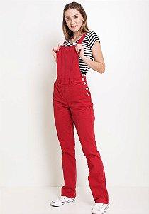 Jardineira longa vermelha
