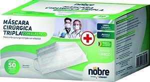 Máscara tripla TNT Branco com elástico cirurgica cx Verde CX50 Nobre