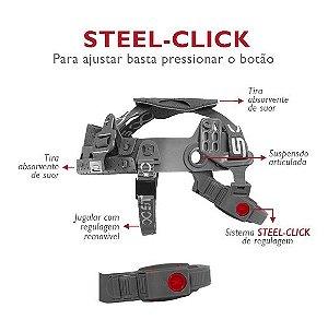 Carneira com Jugular p/ capacete Steel-Click Steelflex