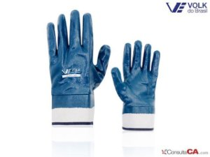 Luva Mecânico Nitrila Lona Azul Volknit Volk CA 25116 - G
