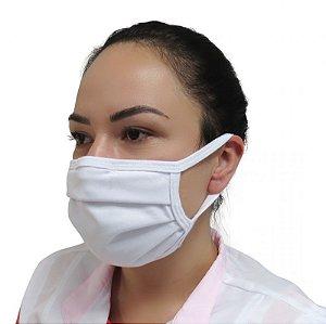 Máscara reuso algodão camada dupla com elástico Prevemax - Branco