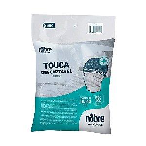Touca descartável TNT Branco com elástico plissada PCT100 Nobre