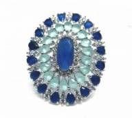 Anel com cristais turmalina e safira, tamanho 16