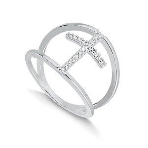 Anel em prata com cruz delicada