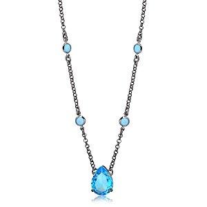Colar gota azul com cristais