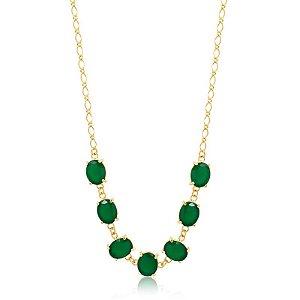 Colar choker com pedras esmeraldas dourada