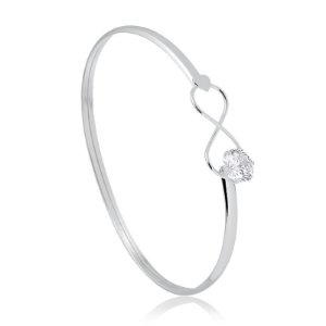 Bracelete m prata infinito com zircônia