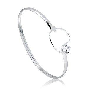 Bracelete em prata coração com zircônia