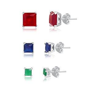 Brinco trio zirconia vermelha, safira e verde