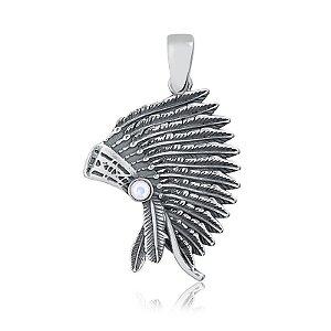 Pingente índio em prata envelhecida