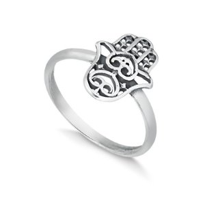 Anel hamsá/mão de Fátima em prata envelhecida