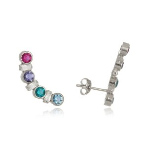 Brinco ear cuff com cristais coloridos