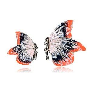 Brinco borboleta assimétrica coral e preta