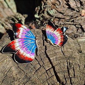 Brinco borboleta azul- preta e branca
