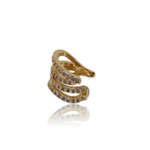 Brinco piercing fake/falso dourado ondas com microzirconias