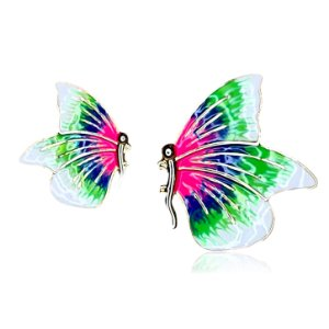 Brinco borboleta assimétrica rosa e verde