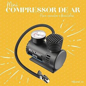 Compressor de Ar 12v Vazão 15l + Min 250psi 3 Bicos Adaptadores Multilaser