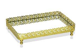 bandeja retangular ouro espelhada 12 x 20 cm