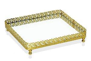 bandeja retangular ouro espelhada 17 x 20 cm
