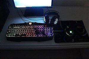Kit Gamer Teclado Multimídia + Mouse + Fone + Mouse-pad