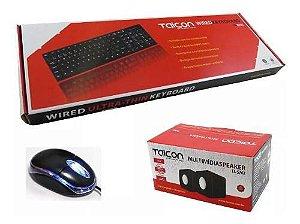 Kit Básico Mouse Optico, Teclado Padrão E Caixa De Som Pc