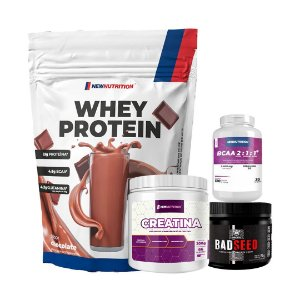 WHEY PROTEIN (900g) + CREATINA (200g) + BCAA 2:1:1 (120cps) + BAD SEED (150g)