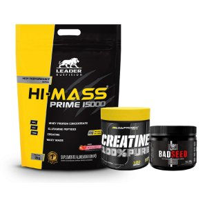 HIPERCALÓRICO HI - MASS (3Kg) + CREATINE (100g) + BADSEED (150g)