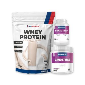 WHEY PROTEIN (900g) + CREATINA (200g) + BCAA 2:1:1 (120cps) - NEW NUTRITION
