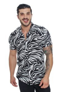 Camisa Viscose Animal Print Zebra