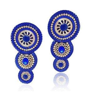 Cabedal I Feltro 3 Mandalas Azul - Par