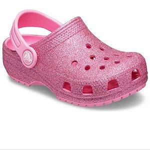 Sandália Crocs Infantil Classic Glitter Clog Pink