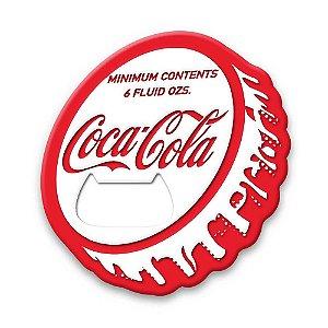 Abridor de garrafa magnético da Coca-Cola com formato de tampinha