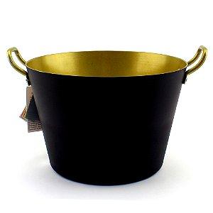 Balde cerveja de alumínio para festa preto / dourado