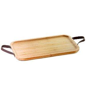 Bandeja de bambu com alça em couro