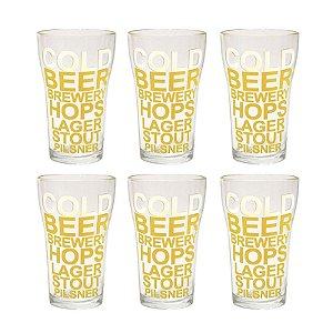 Conjunto 6 copos Boteco Cold Beer