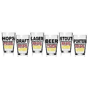Conjunto 6 copos Stout Tipos de Cerveja pequeno
