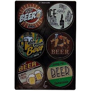 Conjunto 6 porta copos redondos e coloridos de cerveja