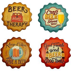 Jogo de 4 porta copos Beer