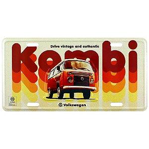 Placa decorativa carro VW Kombi Vintage and Authentic  vermelho / creme