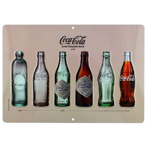 Placa decorativa Coca-cola Bottles fundo bege