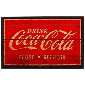 Placa decorativa de madeira Coca-cola Drink and Bottles vermelho